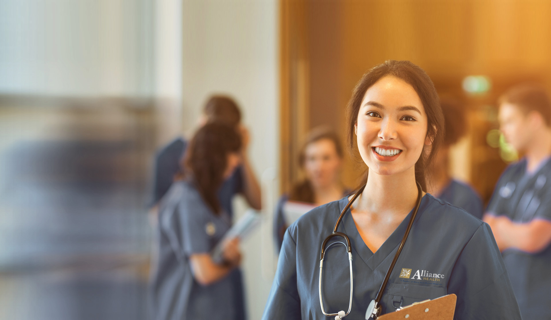 friendly nurse in scrubs